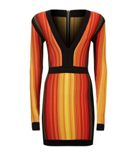 Balmain Striped Long Sleeve V Neck Dress Female Orange