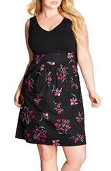 City Chic Plus Size Women's Floral Fit And Flare Dress