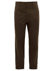 Mhl By Margaret Howell Cotton Canvas Tapered Trousers Green