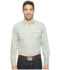 Ariat Chad Print Shirt White Sage Men's Long Sleeve Button Up Blue