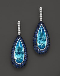 Bloomingdale's 14K White Gold Swiss Blue Topaz And Blue And White Sapphire Earrings