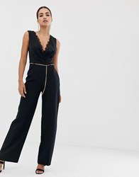 Lipsy Jumpsuit With Lace Insert And Chain Belt In Black Black