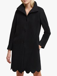 French Connection Carmelita Wool Blend Scallop Hem Coat Black