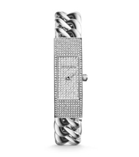 Michael Kors Hayden Pave Chain Link Watch Silver