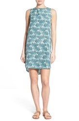 Women's Halogen Sleeveless Shift Dress Teal Green Print