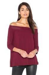 Michael Stars Off Shoulder Tee Burgundy