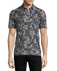 Culturata Graffiti Stroke Print Cotton Polo Shirt Green