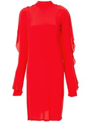 Strateas Carlucci Exposed Orchid Ruffled Sleeve Dress Red