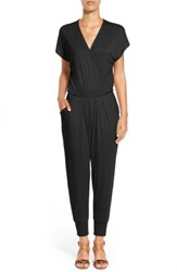 Loveappella Short Sleeve Wrap Top Jumpsuit Black