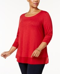 Style And Co Plus Size Chiffon Hem Top Created For Macy's Canyon Red
