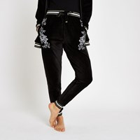River Island Black Floral Embroidered Pyjama Joggers