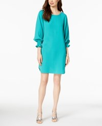 Nine West Smocked Sleeve Shift Dress Atlantis