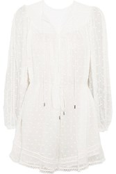 Zimmermann Belle Fil Coupe Silk Chiffon Playsuit White