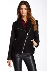 Fillmore Quilter Crinkle Faux Leather And Wool Jacket Black