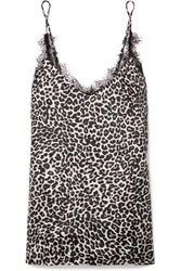 Anine Bing Lace Trimmed Leopard Print Silk Charmeuse Camisole Leopard Print