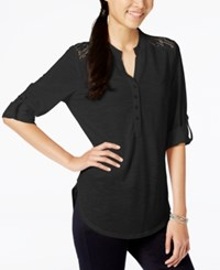 Almost Famous Juniors' Lace Trim Henley Tunic