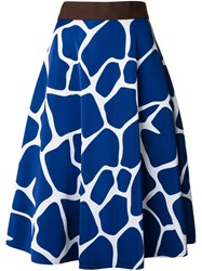 Kolor Giraffe Print Skirt Blue