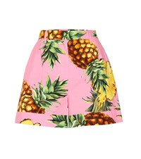 Dolce And Gabbana Printed Cotton Shorts Pink