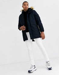 Bershka Parka In Navy With Detachable Faux Fur