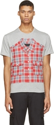 Mostly Heard Rarely Seen Heather Grey And Red Plaid Patch T Shirt
