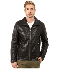 Marc New York Waverly Distressed Buffalo Trucker Jacket W Chest Zipper Pockets Black Men's Jacket