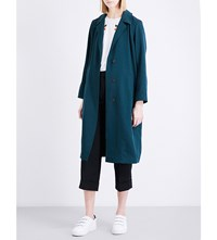 Sandro Relaxed Fit Twill Coat Green