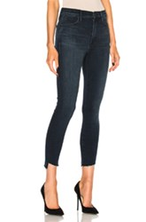 Mother Stunner Zip Ankle Fray Skinny In Blue