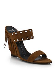 Giuseppe Zanotti Fringed Suede Wedge Sandals Brown