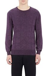 Orley Men's Windowpane Plaid Cable Knit Sweater Purple