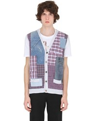 Bob Strollers Denim And Plaid Patchwork Sweater Vest