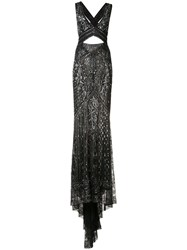 Roberto Cavalli Crossed Back Embroidered Gown Black