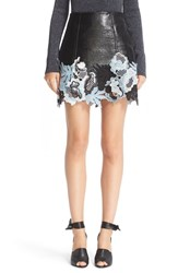 3.1 Phillip Lim Women's Lace Trim Crinkle Patent Vinyl Skirt