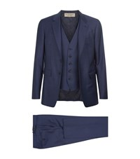 Burberry Modern Fit Sharkskin Wool Travel 3 Piece Suit Male Navy
