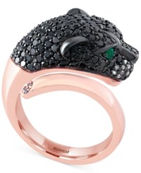 Effy Collection Signature By Effy Diamond 1 3 4 Ct. T.W. And Emerald Accent Panther Ring In 14K Rose Gold
