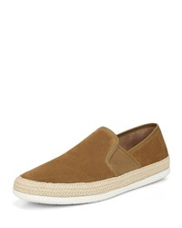 Vince Chad Perforated Sport Suede Slip On Sneakers Brown