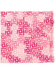 Hemisphere Woven Monogram Scarf Pink And Purple