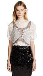 Loyd Ford Lace Crop Top White Grey