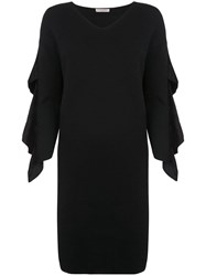 D.Exterior Ruffled Sleeve Dress Black
