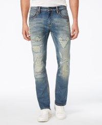 Inc International Concepts Men's Slim Straight Medium Wash Ripped Jeans Only At Macy's