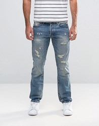 Denim And Supply Ralph Lauren Jeans In Slim Fit With Rips In Med Wash Blue Blue