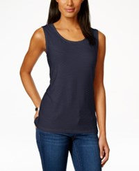 Jm Collection Scoop Neck Textured Jacquard Tank Top Only At Macy's Intrepid Blue