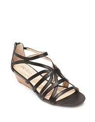 Me Too Sofie Leather Wedge Sandals Black