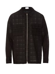 Raey Oversized Zip Front Check Print Jacket Black