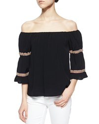 T Bags Boho Off The Shoulder Knit Blouse Black