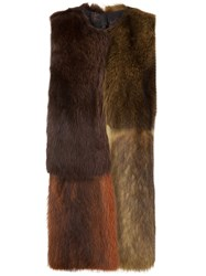 Vera Wang Colour Block Fur Vest Brown