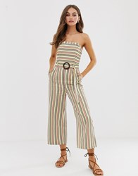 Moon River Bandeau Jumpsuit With Waist Belt Multi