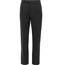 Wacko Maria Grey Tapered Houndstooth Pleated Wool Blend Trousers Gray