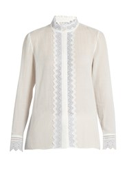 Vanessa Bruno Gina Broderie Anglaise Cotton And Linen Blend Top White