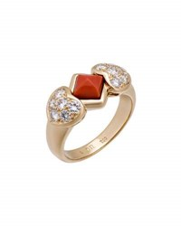 Christian Dior Estate 18K Coral And Diamond Heart Ring Size 8.75
