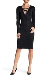 Wow Couture Crisscross V Neck Bandage Dress Black